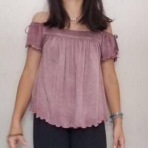 purple off the shoulder blouse